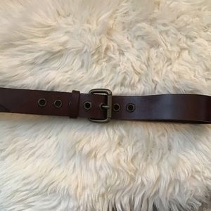 Max Mara Brown Leather Belt Brass Buckle